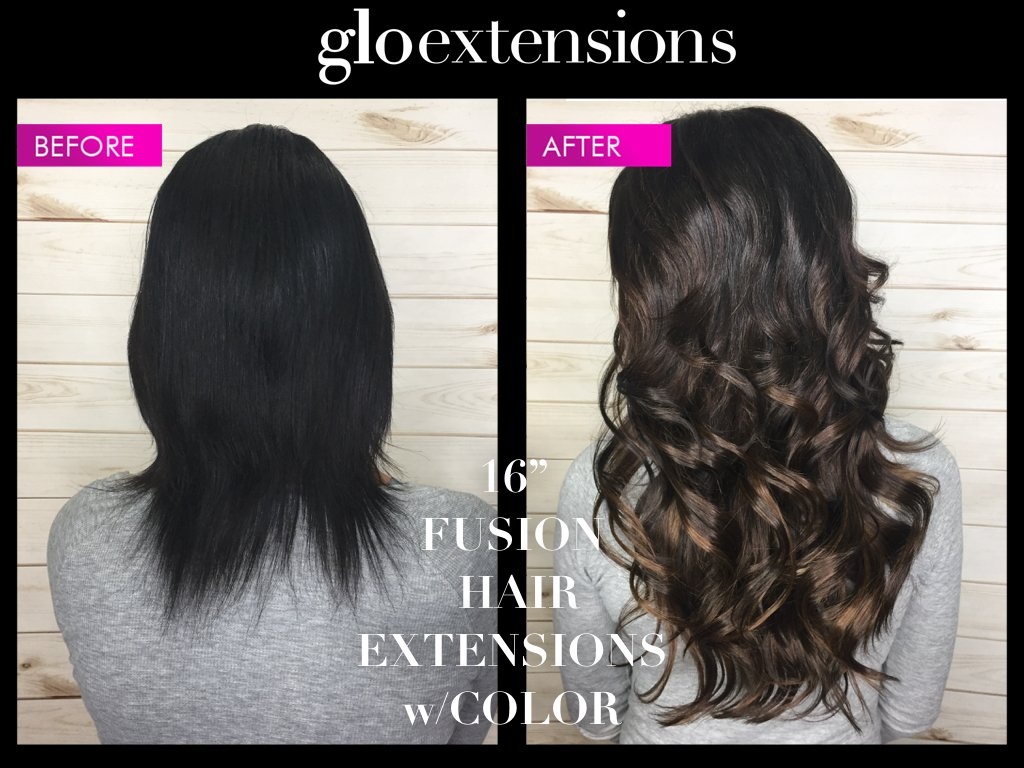 Before and After Fusion Hair Extensions - Glo Extensions Denver