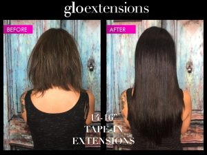 Before and After Tape In Hair Extensions- Glo Extensions Denver