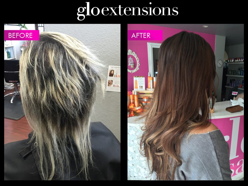 Before and After Glo Extensions Denver