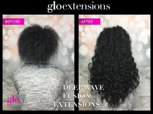 Before and After Deep Wave Fusion Hair Extensions- Glo Extensions Denver