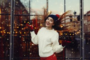 Winter hairstyles: straight hairstyles