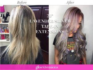 "Glo Extensions Denver Before and After 20"" Lavender Tape In Hair Extensions"