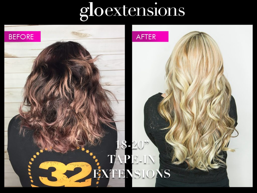 Tape In Hair Extensions Transformation - GLo Extensions Denver Salon