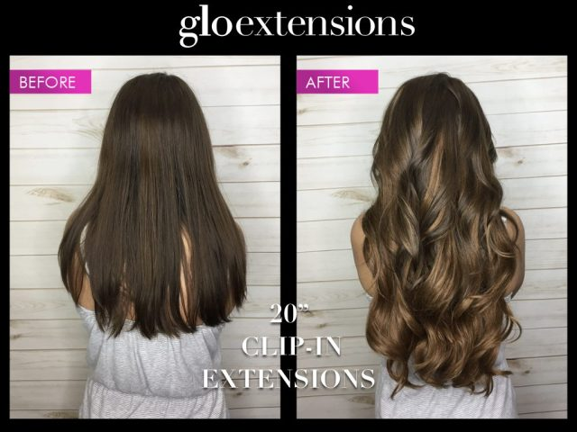 """Before and After 20"""" Clip In Hair Extensions - Glo Extensions Denver"""
