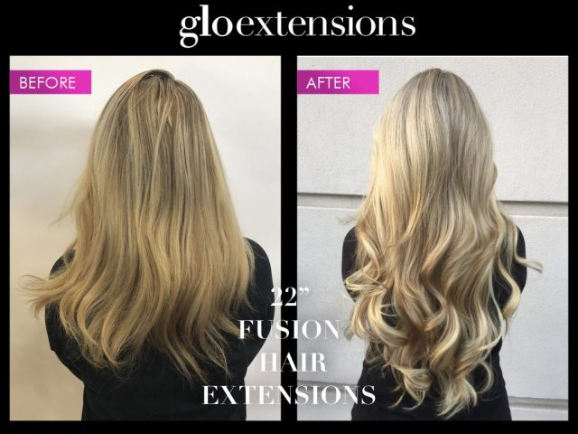 """Before and After 22"""" Fusion Hair Extensions - Glo Extensions Denver"""