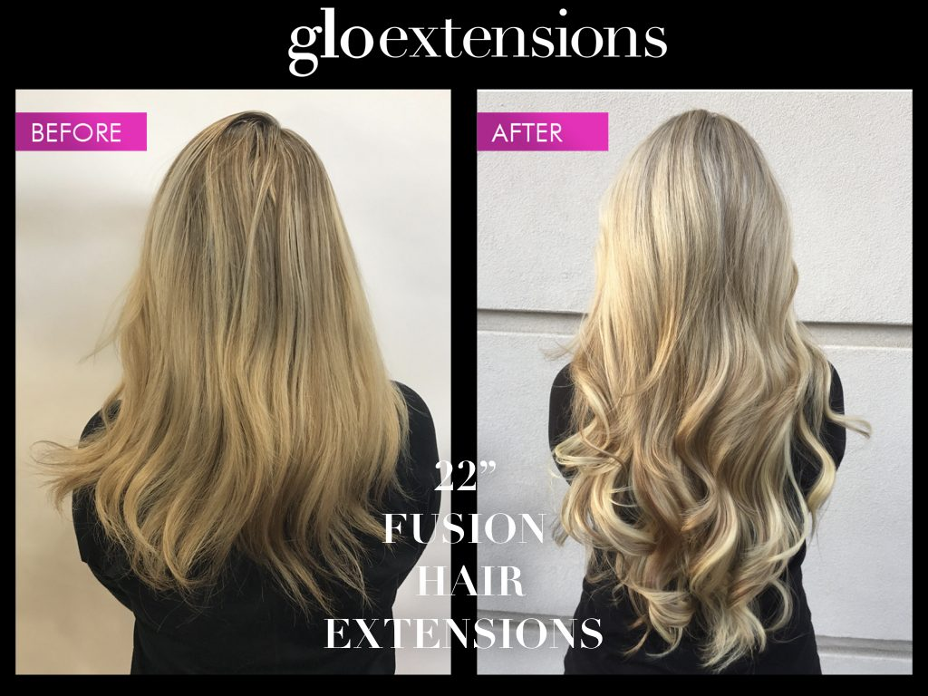 "Before and After 22"" Fusion Hair Extensions - Glo Extensions Denver"
