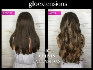 "Before and After 20"" Clip In Hair Extensions - Glo Extensions Denver"
