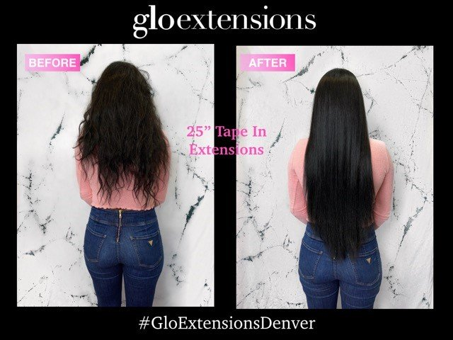 25 inch HairTalk tape in hair extensions glo extensions denver