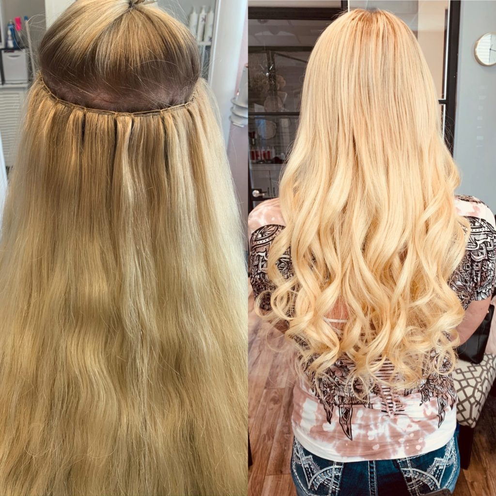 hand tied weft extensions Heather Glo Denver
