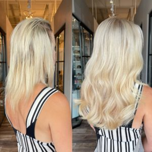 14 in blonde great lengths hair extensions by Heather at Glo Extensions Denver