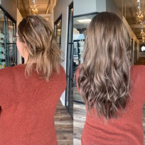 hair topper and tape in extensions by Heather at Glo Denver
