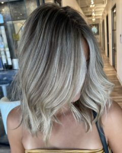 foilayage shadow root blonde hair color glo extensions denver