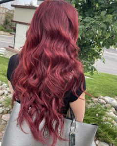 red hair color with 21 hairtalk tape in extensions glo extensions denver