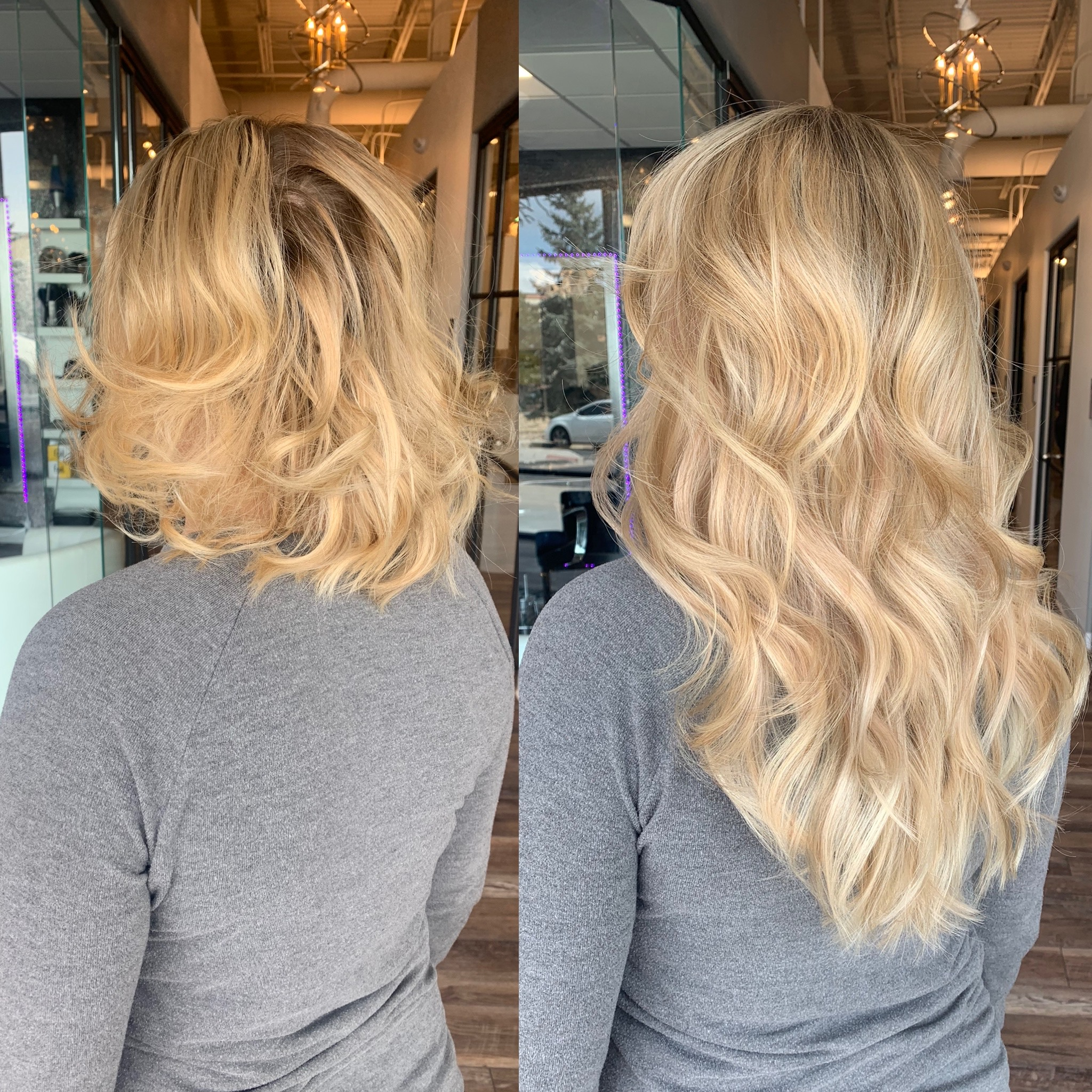Hair extensions Denver photos before and after - by glo extensions