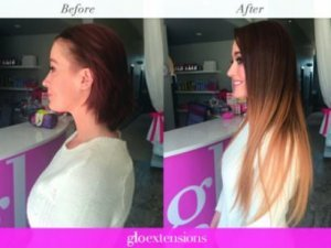 """BEFORE AND AFTER - 20"""" Clip-In Hair Extensions - Glo Extensions Denver"""