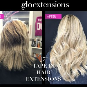 """BEFORE AND AFTER - 17"""" Tape-In Hair Extensions - Glo Extensions Denver"""