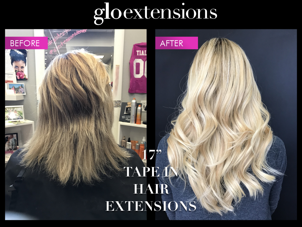 "BEFORE AND AFTER - 17"" Tape-In Hair Extensions - Glo Extensions Denver"
