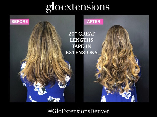 "BEFORE AND AFTER - 20""  Great Lengths Tape-In Hair Extensions - Glo Extensions Denver"