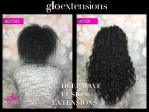 "BEFORE AND AFTER - 18"" Deep Wave Fusion Hair Extensions - Glo Extensions Denver"